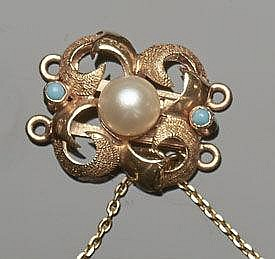 A VINTAGE GOLD, TURQUOISE AND PEARL NECKLACE CLASP CONNECTOR