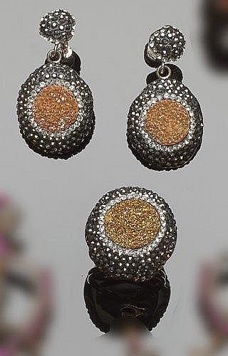 A SET OF SILVER, ZIRCON AND marcasite JEWELRY