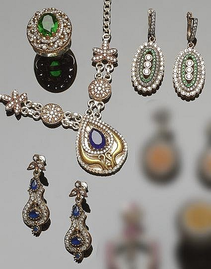 A SET OF SILVER, BRONZE, MULTI-COLORED GEMSTONE AND ZIRCON JEWELRY