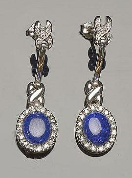 A PAIR OF GOLD, LAPIS LAZULI AND DIAMOND EARRINGS