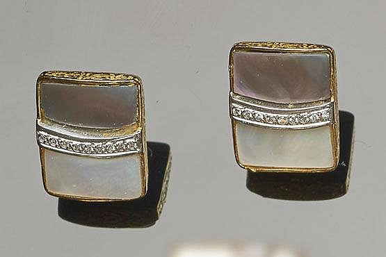 A PAIR OF GOLD, NACRE AND DIAMOND EARRINGS