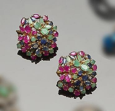 A PAIR OF GILT STERLING SILVER, EMERALD, RUBY AND SAPPHIRE EARRINGS