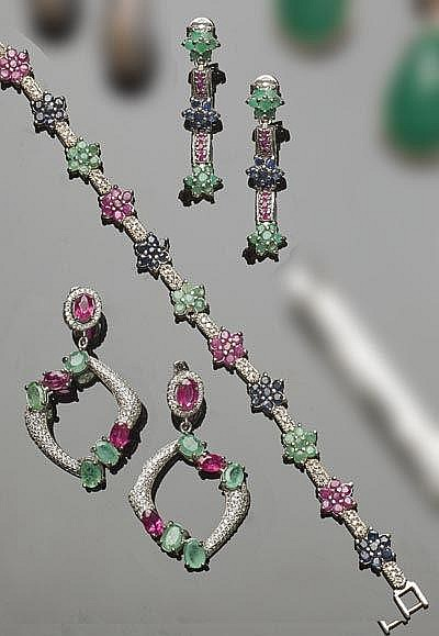 A SET OF STERLING SILVER, EMERALD, RUBY, SAPPHIRE AND ZIRCON JEWELRY