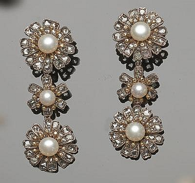 A PAIR OF GOLD, SILVER, PEARL AND DIAMOND EARRINGS