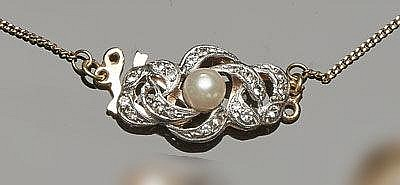 A VINTAGE GOLD, SAPPHIRE AND PEARL NECKLACE CLASP CONNECTOR