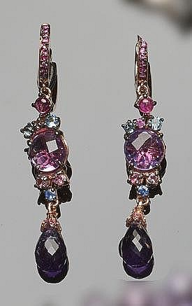 A PAIR OF STERLING SILVER, SAPPHIRE, MULTI-COLORED GEMSTONE AND AMETHYST DROP EARRINGS