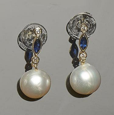 A PAIR OF GOLD, PEARL, SAPPHIRE AND DIAMOND EARRINGS