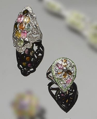 A SET OF TWO STERLING SILVER, TOURMALINE AND ZIRCON JEWELRY
