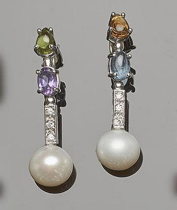 A PAIR OF GOLD, PEARL, MULTI-COLOURED GEMSTONE AND DIAMOND DROP EARRINGS
