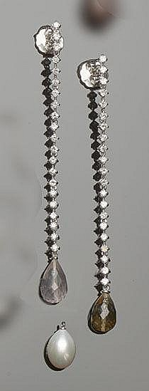 A SET OF GOLD, PEARL AND DIAMOND DROP EARRINGS