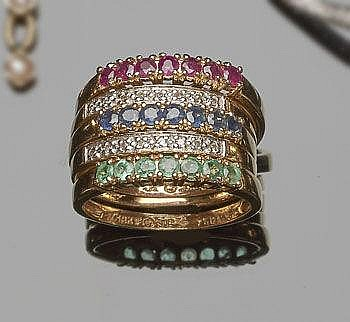 A GOLD, EMERALD, RUBY, SAPPHIRE AND DIAMOND RING