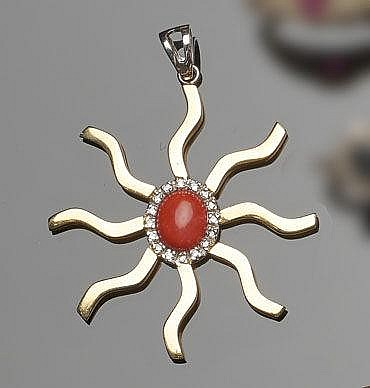 A GOLD, CORAL AND DIAMOND PENDANT