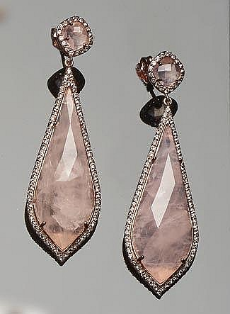 A PAIR OF STERLING SILVER, QUARTZ AND TOPAZ EARRINGS