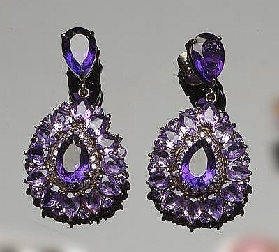 A PAIR OF STERLING SILVER, BRONZE AND AMETHYST DROP EARRINGS
