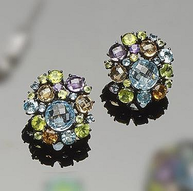A PAIR OF STERLING SILVER, TOPAZ, PERIDOT, AMETHYST AND CITRINE EARRINGS
