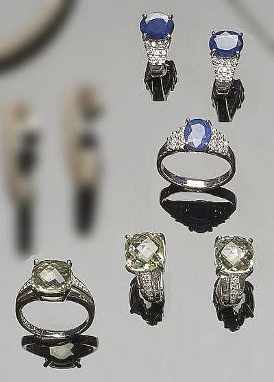 A SET OF SAPPHIRE AND ZIRCON JEWELRY; A SET OF AMETHYST AND ZIRCON JEWELRY