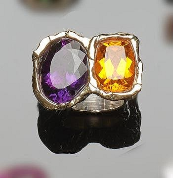 A STERLING SILVER, GOLD, AMETHYST AND CITRINE RING, BY TAMBEL