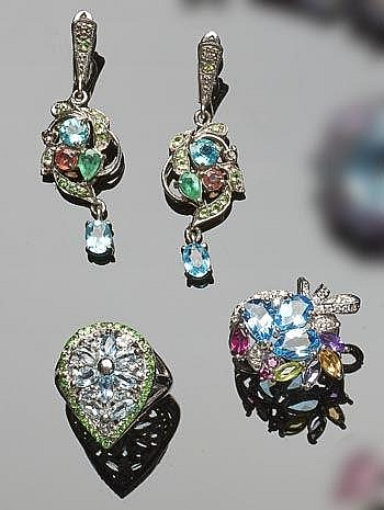 A SET OF STERLING SILVER, MULTI-COLOURED GEMSTONE AND ZIRCON JEWELRY