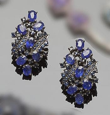 A PAIR OF STERLING SILVER AND SAPPHIRE EARRINGS