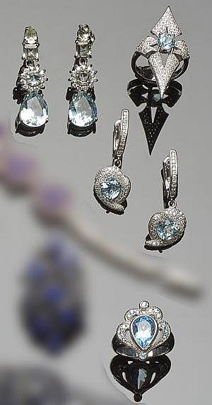 A SET OF STERLING SILVER, TOPAZ AND ZIRCON JEWELRY