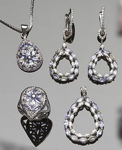 A SET OF STERLING SILVER, TANZANITE AND ZIRCON JEWELRY