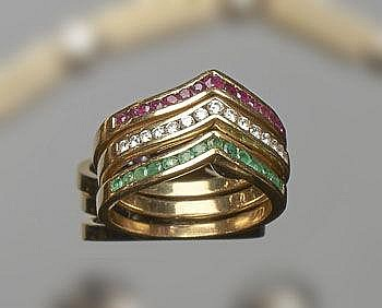 A SET OF GOLD, RUBY, EMERALD AND DIAMOND RINGS