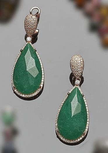 A PAIR OF GILT SILVER, GREEN GEMSTONE AND ZIRCON EARRINGS