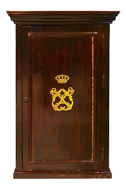 AN ANTIQUE WALL MOUNTED KEY CABINET