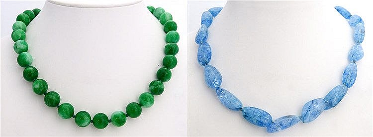 TWO GREEN JADE AND BLUE GEMSTONE NECKLACES