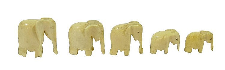 A SET OF FIVE IVORY ELEPHANT FIGURINES