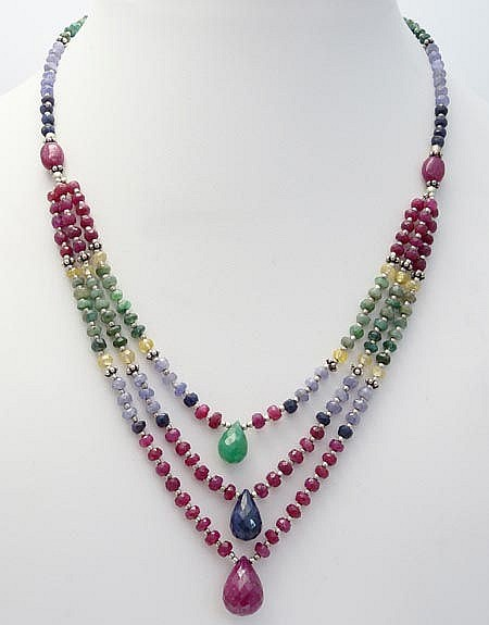 A SILVER, RUBY, SAPPHIRE, EMERALD AND AMETHYST NECKLACE
