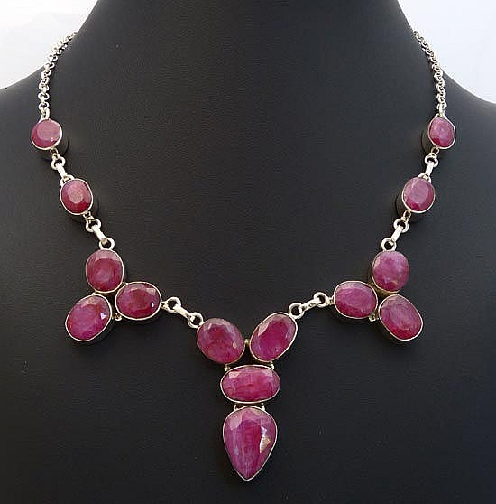 A SILVER AND RUBY NECKLACE