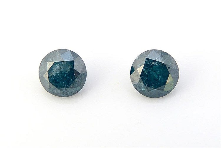 A PAIR OF BRILLIANT CUT BLUE DIAMONDS
