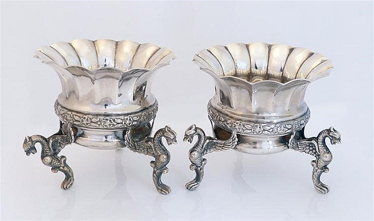 A PAIR OF VINTAGE STERLING SILVER CENTERPIECES