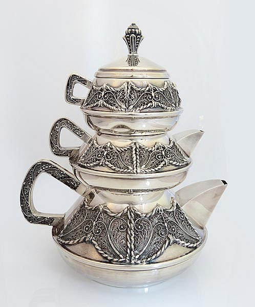 A SILVER TEA SET