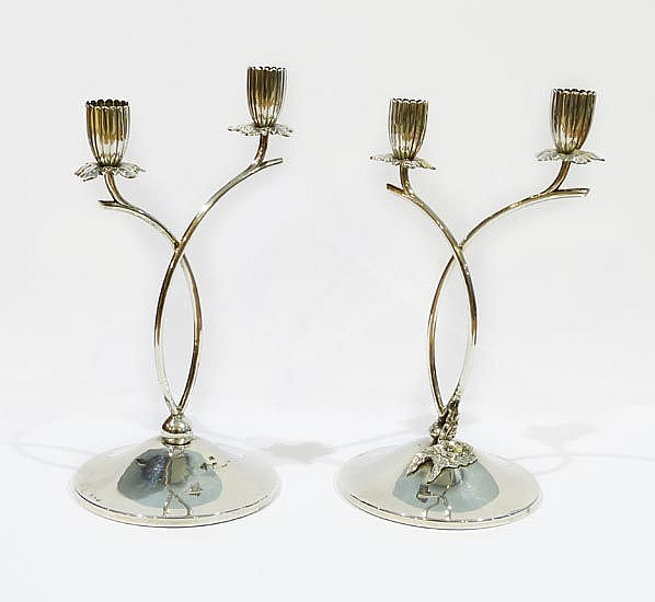 A PAIR OF VINTAGE STERLING SILVER CANDLESTICKS