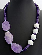 A SILVER AND AMETHYST NECKLACE