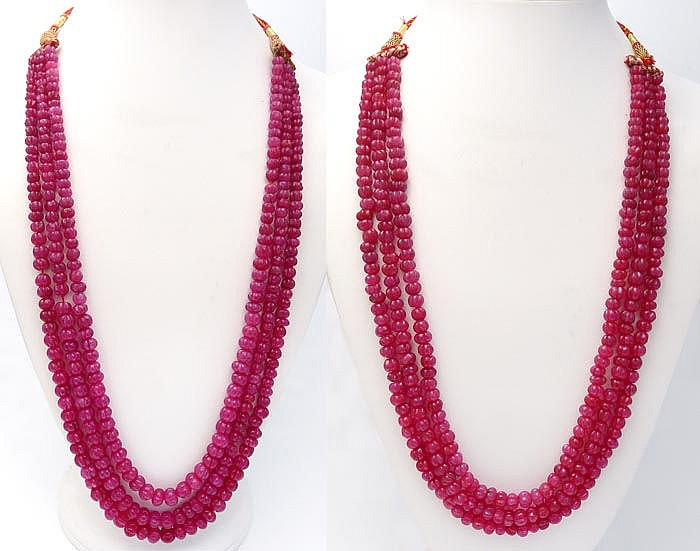 TWO RUBY NECKLACES