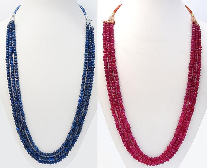 TWO RUBY AND SAPPHIRE NECKLACES