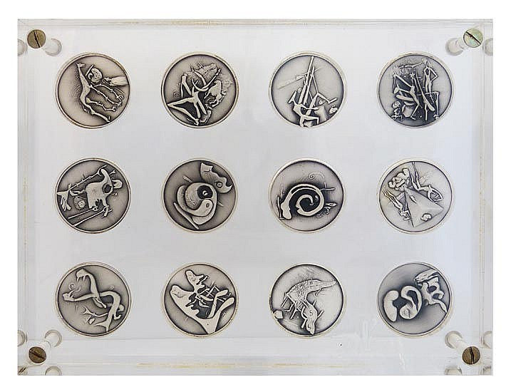 A COLLECTION OF SALVADOR DALI SILVER COINS
