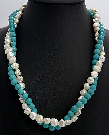 A SILVER, PEARL AND TURQUOISE NECKLACE