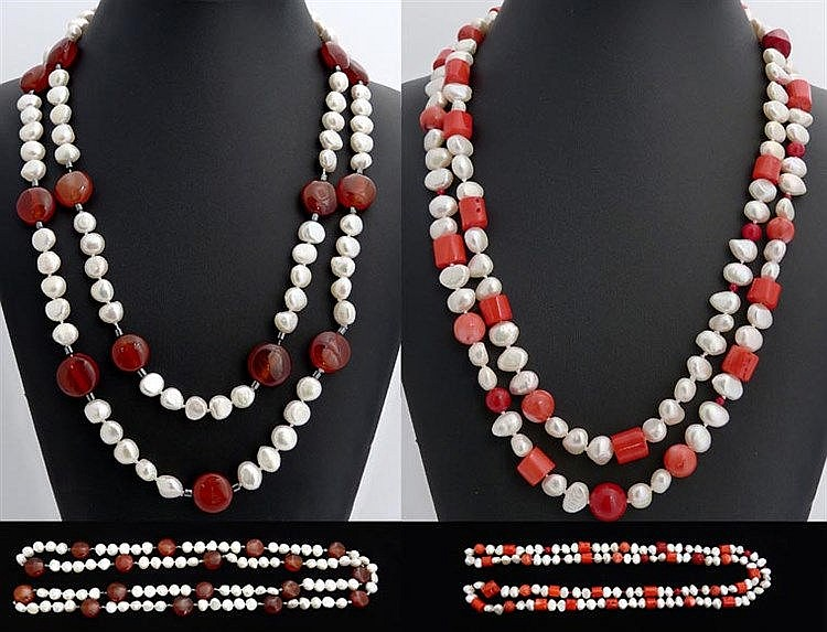 TWO CORAL, AGATE AND PEARL NECKLACES