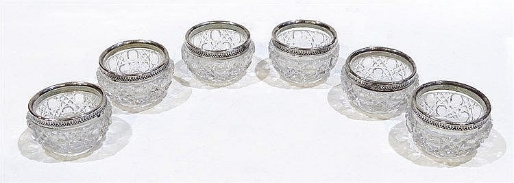A SET OF SIX CUT CRYSTAL