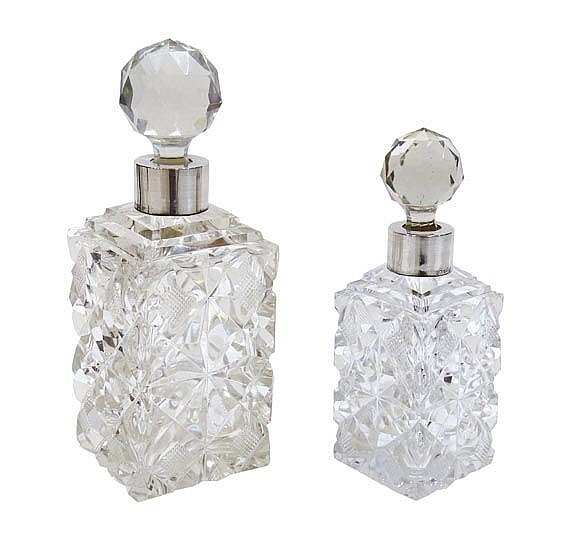 A PAIR OF CUT CRYSTAL LIQUOR DECANTERS