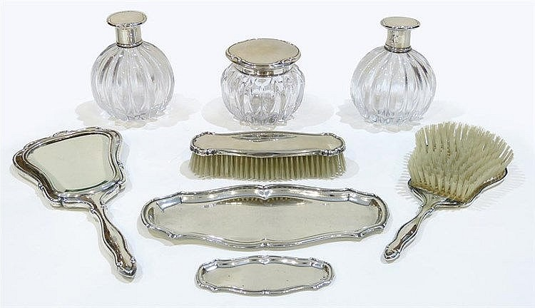 A STERLING SILVER VANITY SET