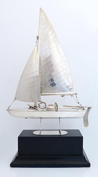 A STERLING SILVER MINIATURE SAIL BOAT SHIP