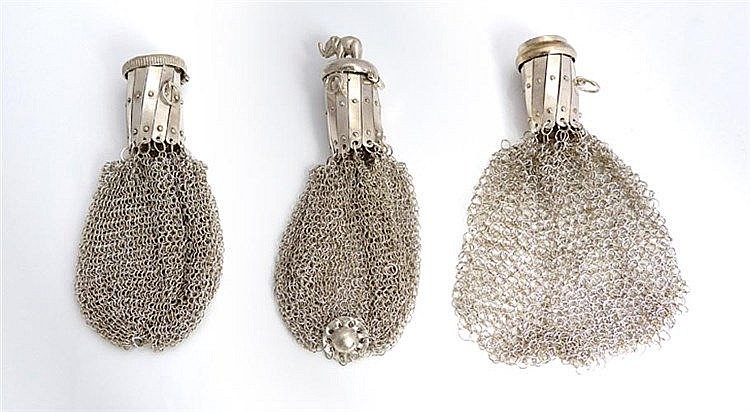 A SET OF THREE SILVER COIN PURSES