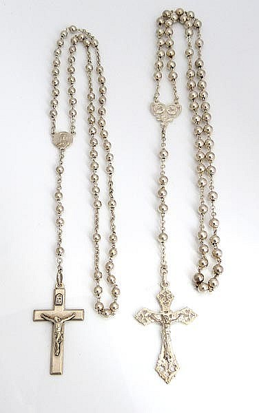 A PAIR OF SILVER ROSARIES