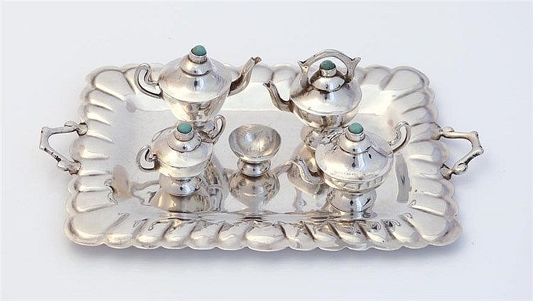 A SILVER AND TURQUOISE MINIATURE TEA SET