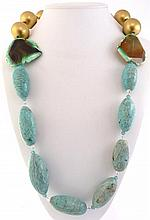A SILVER, AMAZONITE AND AGATE NECKLACE